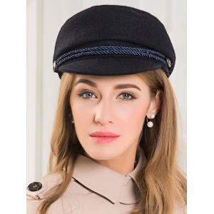 Wool Rope Fastener Embellished Beret Hat - BLACK