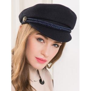 Wool Rope Fastener Embellished Beret Hat -