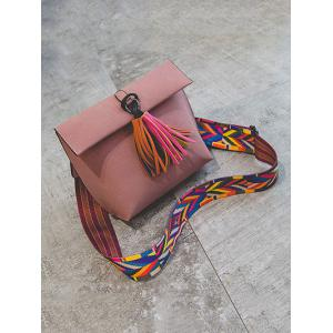 Colour Block Tassels Magnetic Closure Crossbody Bag -
