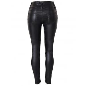 Rise Waist Faux Leather Skinny Pants -