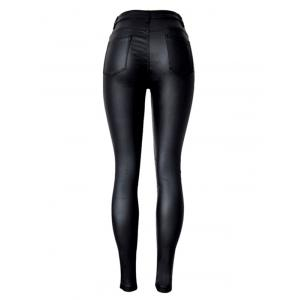 Stretchy  Faux Leather Ponte Pants -