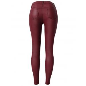 Zippers Faux Leather Low  Rise Pants - WINE RED 3XL