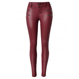Zippers Faux Leather Low  Rise Pants - Wine Red - S