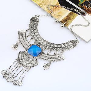 Vintage Rhinestone Coins Necklace and Earrings - SILVER/BLUE