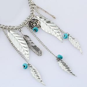 Bohemian Faux Turquoise Beads Feather Necklace - SILVER