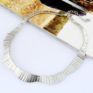Vintage Alloy Floral Collar Necklace - SILVER