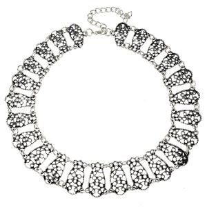 Hollow Out Alloy Choker Necklace - SILVER