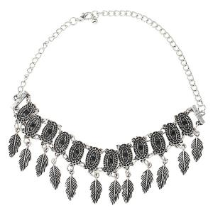 Alloy Oval Tree Leaf Choker Necklace - SILVER