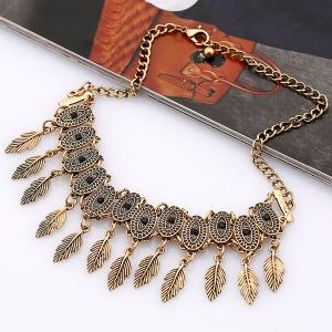 Alloy Oval Tree Leaf Choker Necklace