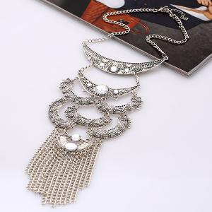 Artificial Gem Moon Layered Necklace -