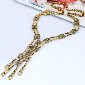 Rhinestone Alloy Geometric Necklace - GOLDEN