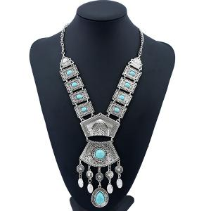 Bohemian Rhinestone Geometric Water Drop Necklace