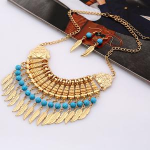 Bohemian Leaf Necklace and Earrings - GOLDEN