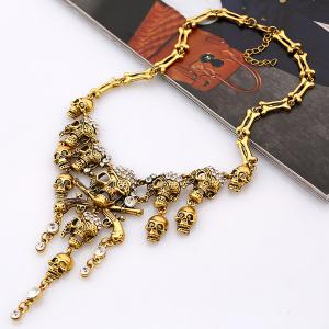Vintage Rhinestone Skull Bone Pendant Necklace - GOLDEN