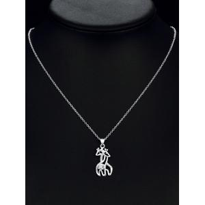 Rhinestone Double Fawn Necklace - SILVER