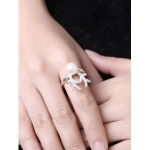 Rhinestone Artificial Pearl Christmas Elk Ring - SILVER 7