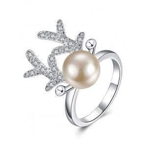 Rhinestone Artificial Pearl Christmas Elk Ring