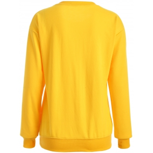 Casual Letter Print Long Sleeve Sweatshirt - YELLOW XL
