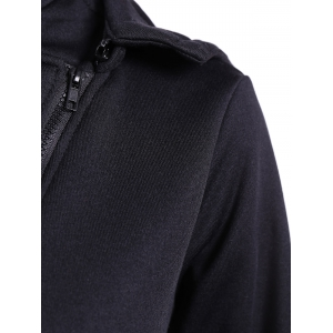 Hooded Inclined Zip Jacket - BLACK XL
