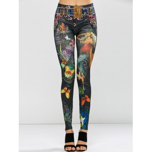 Stretchy Butterfly Print Leggings - BLACK ONE SIZE
