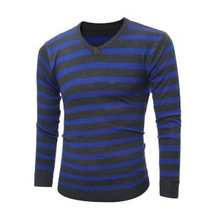 V Neck Striped Knitting Sweater - Cadetblue - 2xl