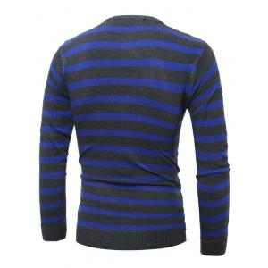 V Neck Striped Knitting Sweater - CADETBLUE 2XL
