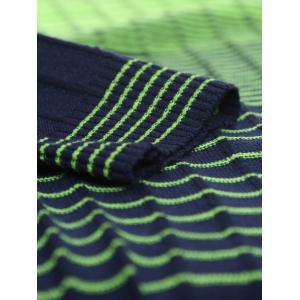 V Neck Ombre Striped Knitting Sweater - GREEN 2XL