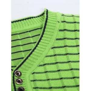 V Neck Ombre Striped Knitting Sweater -