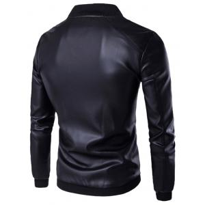 PU Leather Stand Collar Zip Up Jacket - BLACK 4XL
