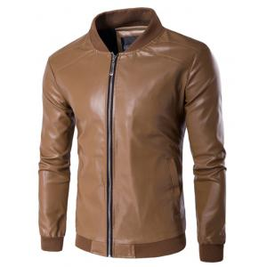 PU Leather Stand Collar Zip Up Jacket - Dun - M