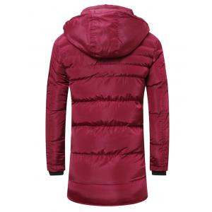 Hooded Lengthen Thicken Quilted Coat - BURGUNDY 4XL