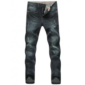 Plus Size Cat's Whisker Narrow Feet Bleach Wash Jeans