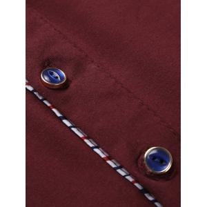 Striped Splicing Polo Collar T-Shirt - WINE RED 3XL