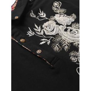 Florals Embroidered Polo Collar T-Shirt - BLACK 3XL