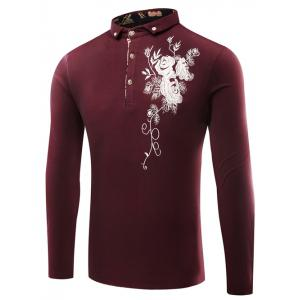 Florals Embroidered Polo Collar T-Shirt