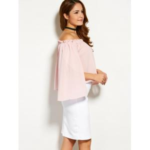 Off The Shoulder Slit Sleeve Ruffled Blouse -