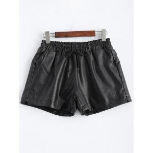 Plus Size Pocket Design Faux Leather Shorts - Black - 5xl