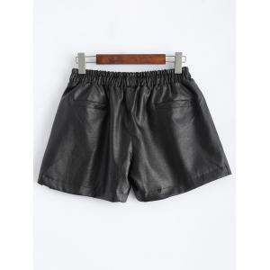 Plus Size Pocket Design Faux Leather Shorts -