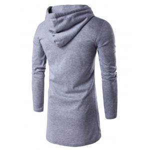 Hooded Longline Zip Up Hoodie -