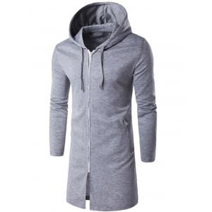 Hooded Longline Zip Up Hoodie
