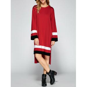 Asymmetrical Striped Side Slit Shirt Sweater Dress