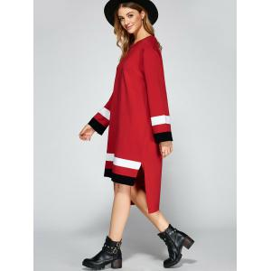 Asymmetrical Striped Side Slit Shirt Sweater Dress - RED ONE SIZE