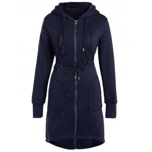 Hooded Drawstring Asymmetrical Coat - Deep Blue - S