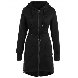 Hooded Drawstring Asymmetrical Coat - Black - S