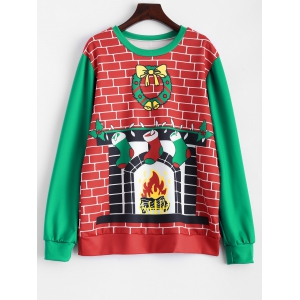 3D Fireplace Christmas Sweatshirt
