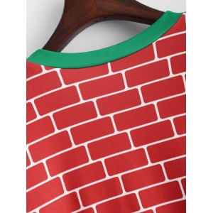 3D Fireplace Christmas Sweatshirt - RED AND GREEN ONE SIZE