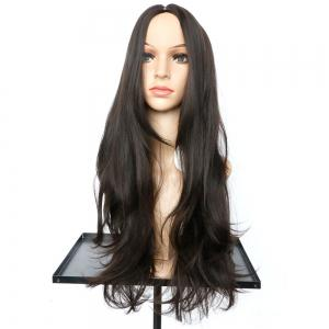 Long Middle Part Slightly Curled Synthetic Wig - NUT BROWN