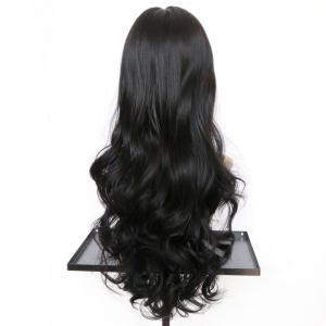 Long Full Bang Wavy Synthetic Wig - BLACK
