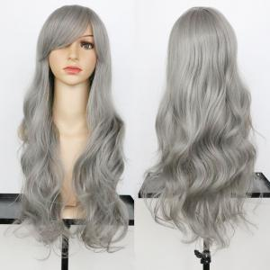 Long Oblique Bang Wavy Synthetic Wig