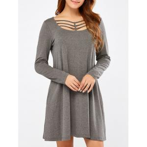 Long Sleeve Strappy A Line Casual Everyday Dress - Gray - M